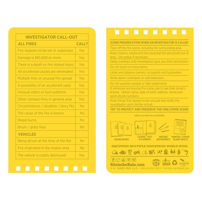 Waterproof Fire Incident Report Notepad    Barneys Police